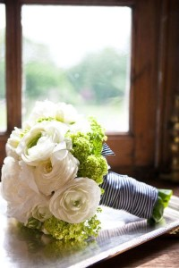 Navy and white ribbon around flowers